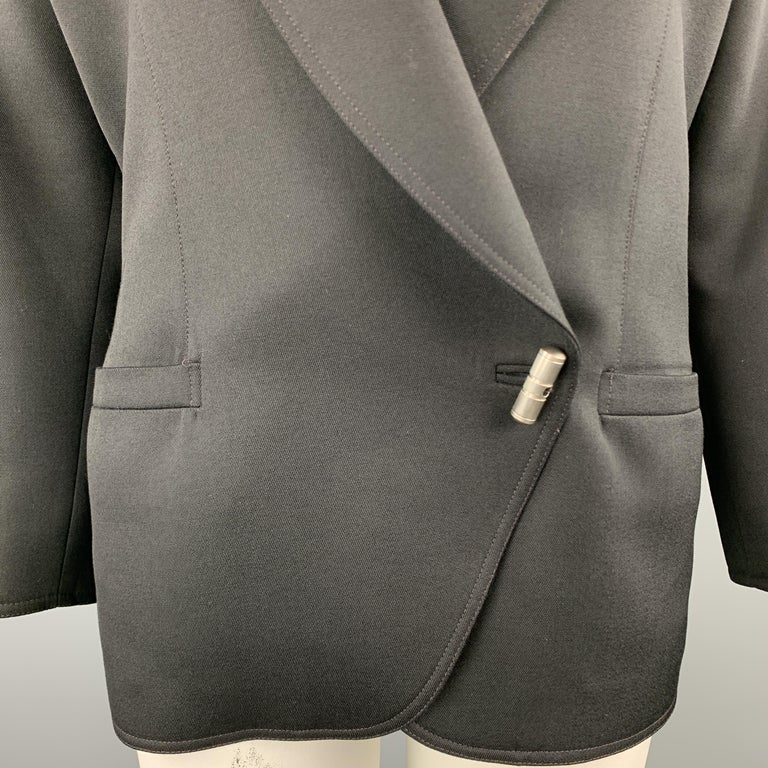 GIANNI VERSACE Vintage 80s Size 8 Black Wool Shawl Collar Double Breasted Blazer In Excellent Condition In San Francisco, CA