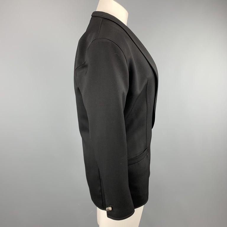 Women's GIANNI VERSACE Vintage 80s Size 8 Black Wool Shawl Collar Double Breasted Blazer