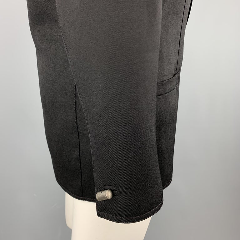 GIANNI VERSACE Vintage 80s Size 8 Black Wool Shawl Collar Double Breasted Blazer 1