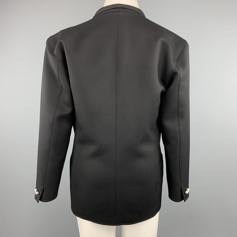 GIANNI VERSACE Vintage 80s Size 8 Black Wool Shawl Collar Double Breasted Blazer 2
