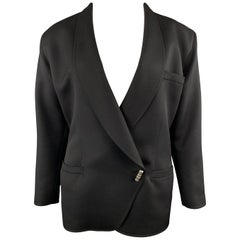 GIANNI VERSACE Vintage 80s Size 8 Black Wool Shawl Collar Double Breasted Blazer