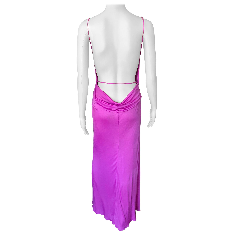 Gianni Versace Vintage Backless High Slit Evening Dress Gown