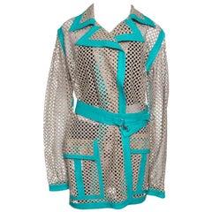 Gianni Versace Vintage Beige Cutout Leather Contrast Trim Belted Coat M