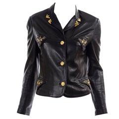 Gianni Versace Vintage Black Lambskin Leather Moto Jacket W Medusa Studs