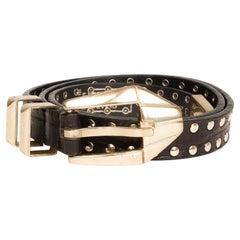 Gianni Versace Vintage Black Leather Gold Studded Belt (Size 65/26)