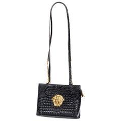 GIANNI VERSACE Vintage black mock croc gold Medusa Greca long shoulder strap bag