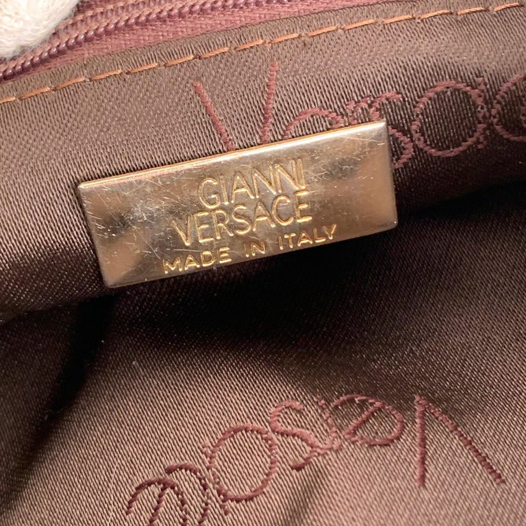 Gianni Versace Vintage Brown Leather Medusa Bucket Shoulder Bag For Sale 6