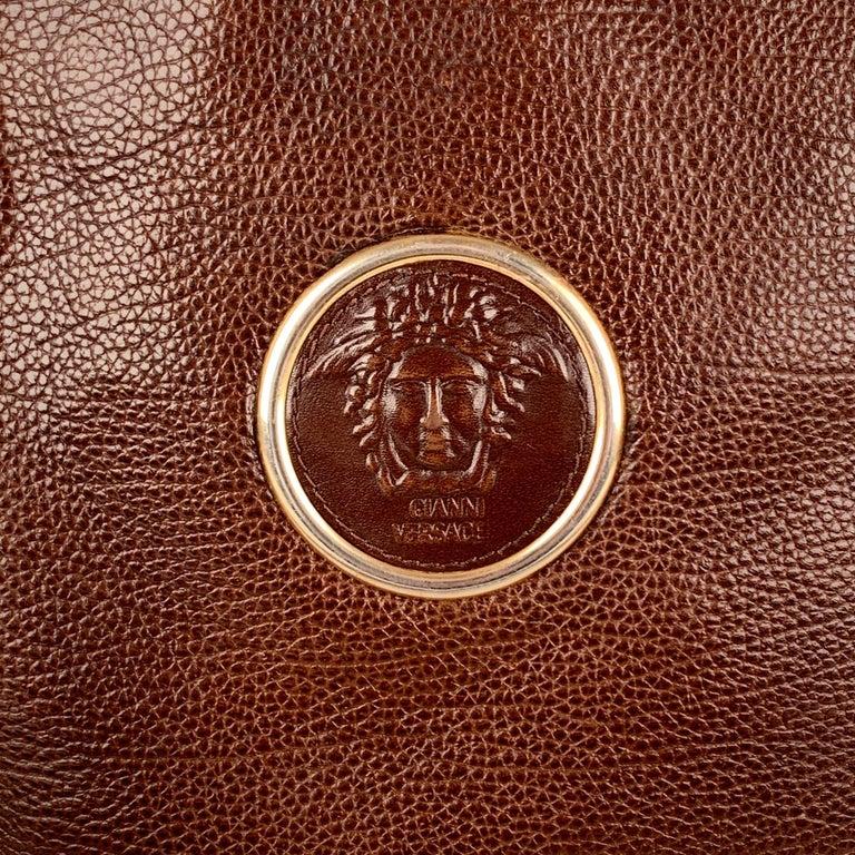 Gianni Versace Vintage Brown Leather Medusa Bucket Shoulder Bag For Sale 1