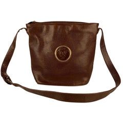 Gianni Versace Vintage Brown Leather Medusa Bucket Shoulder Bag