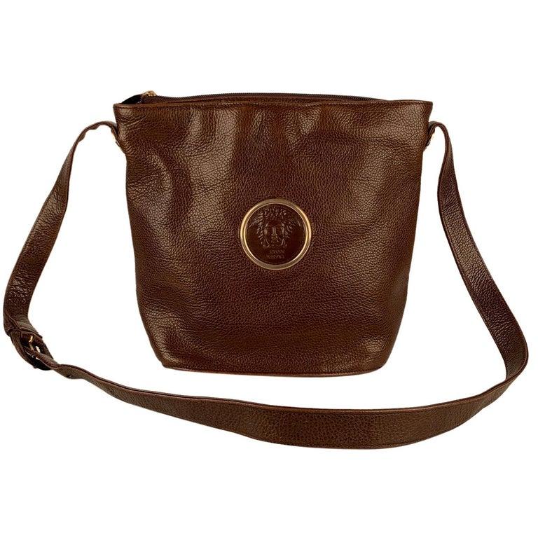 Gianni Versace Vintage Brown Leather Medusa Bucket Shoulder Bag For Sale