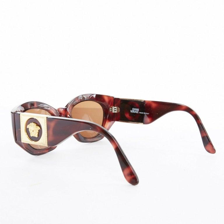 Women's GIANNI VERSACE Vintage brown tortoise angular cateye gold Medusa sunglasses For Sale