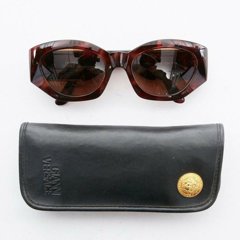 GIANNI VERSACE Vintage brown tortoise angular cateye gold Medusa sunglasses For Sale 1