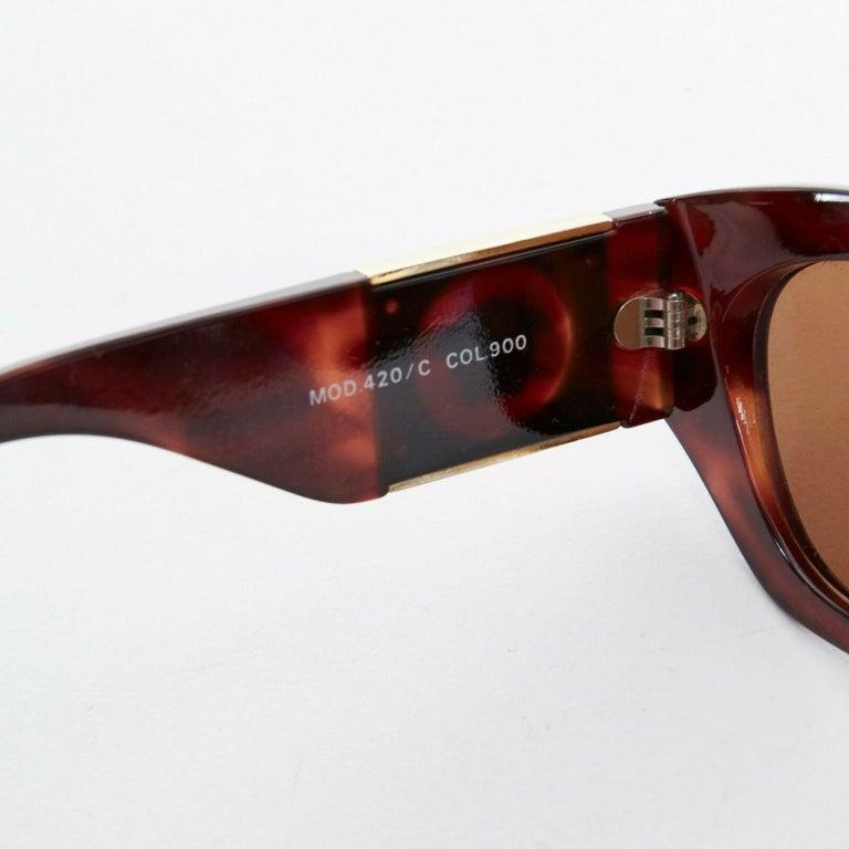 GIANNI VERSACE Vintage brown tortoise angular cateye gold Medusa sunglasses For Sale 3