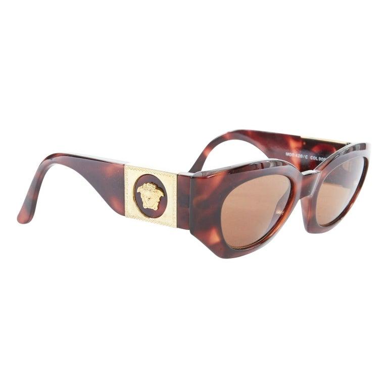 GIANNI VERSACE Vintage brown tortoise angular cateye gold Medusa sunglasses For Sale