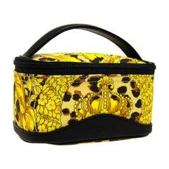 Gianni Versace Vintage Gold Black Fabric Cosmetic Vanity Top Handle Satchel Bag