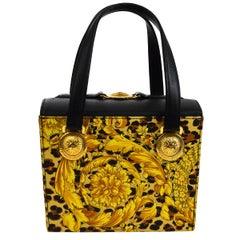 4b67dff57d Gianni Versace Vintage Gold Black Fabric Mini Evening Top Handle Satchel Bag