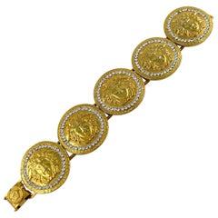 Gianni Versace Vintage Iconic Gold Toned Medusa Crystal Bracelet