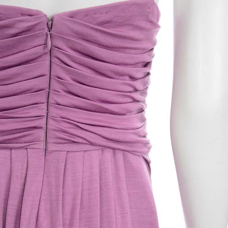 Gianni Versace Vintage Lavender Silk Jersey Naomi Campbell Runway Dress S/S 2000 For Sale 5
