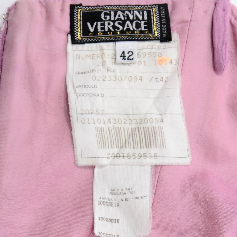 Gianni Versace Vintage Lavender Silk Jersey Naomi Campbell Runway Dress S/S 2000 For Sale 6