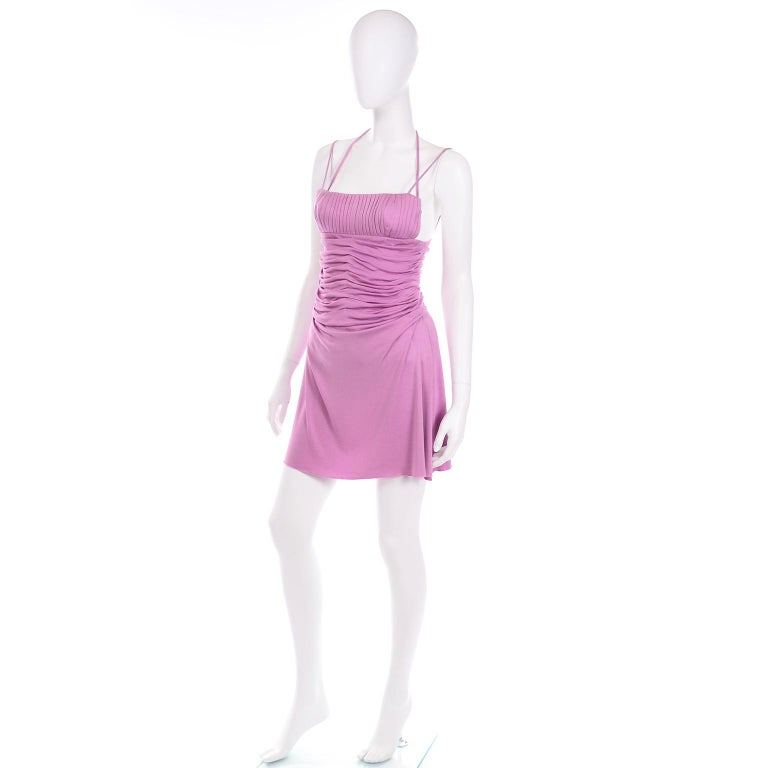 Gianni Versace Vintage Lavender Silk Jersey Naomi Campbell Runway Dress S/S 2000 In Excellent Condition For Sale In Portland, OR