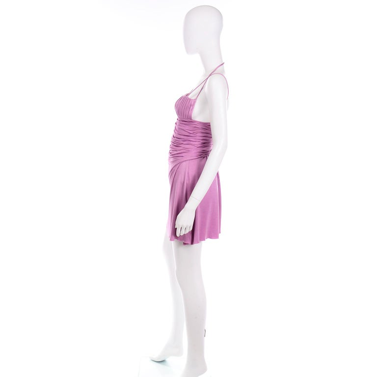 Women's Gianni Versace Vintage Lavender Silk Jersey Naomi Campbell Runway Dress S/S 2000 For Sale
