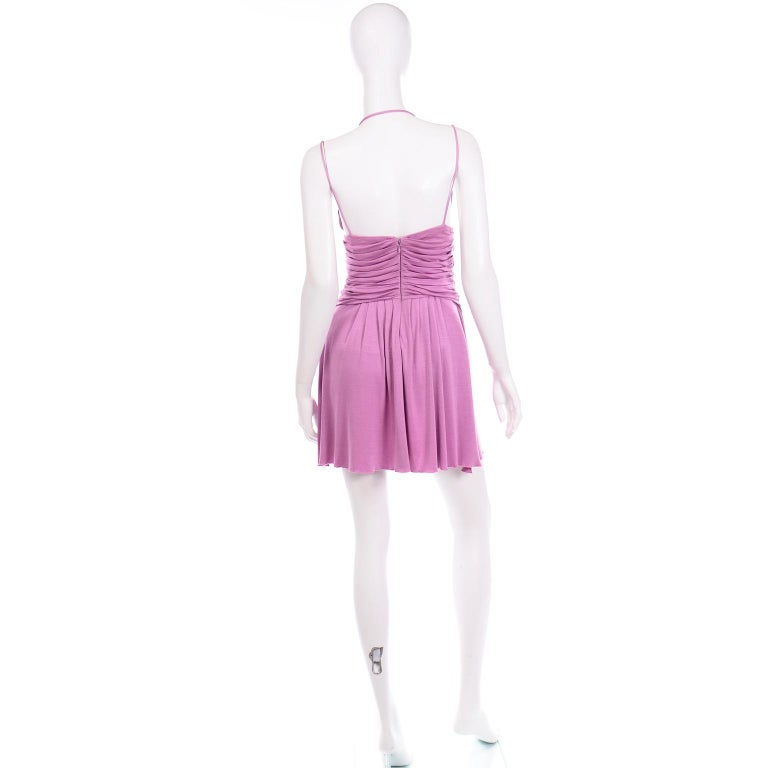 Gianni Versace Vintage Lavender Silk Jersey Naomi Campbell Runway Dress S/S 2000 For Sale 1