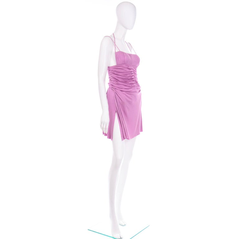 Gianni Versace Vintage Lavender Silk Jersey Naomi Campbell Runway Dress S/S 2000 For Sale 2