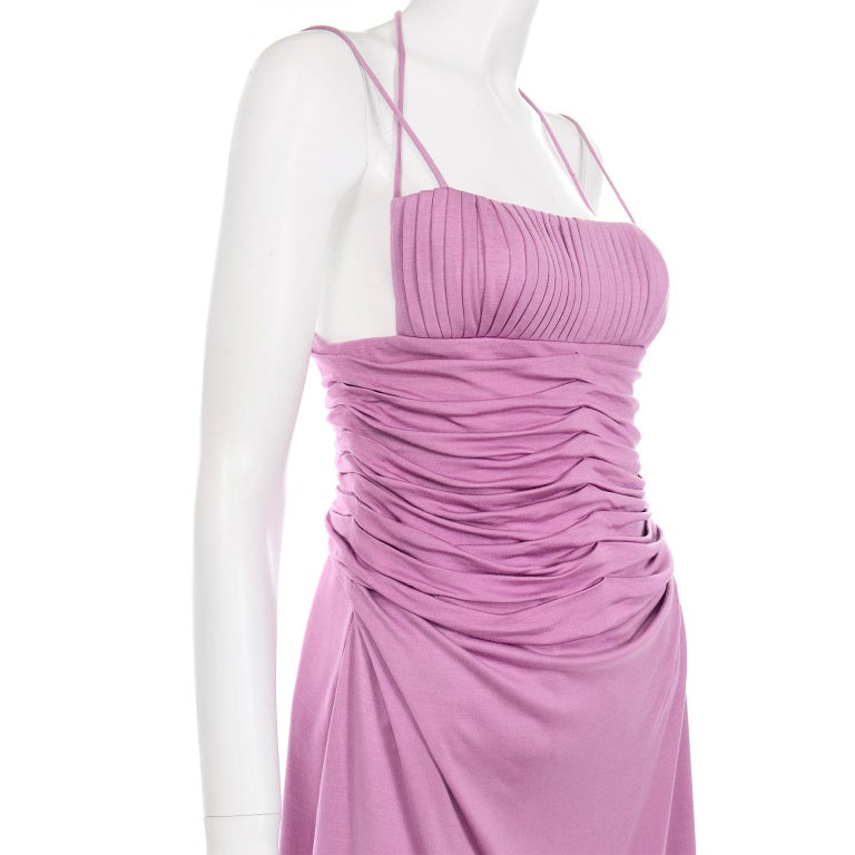 Gianni Versace Vintage Lavender Silk Jersey Naomi Campbell Runway Dress S/S 2000 For Sale 3