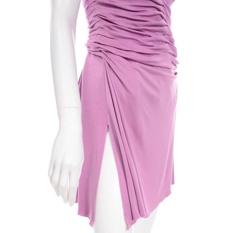 Gianni Versace Vintage Lavender Silk Jersey Naomi Campbell Runway Dress S/S 2000 For Sale 4