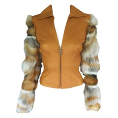 Gianni Versace Vintage Leather and Fox Fur Jacket Coat