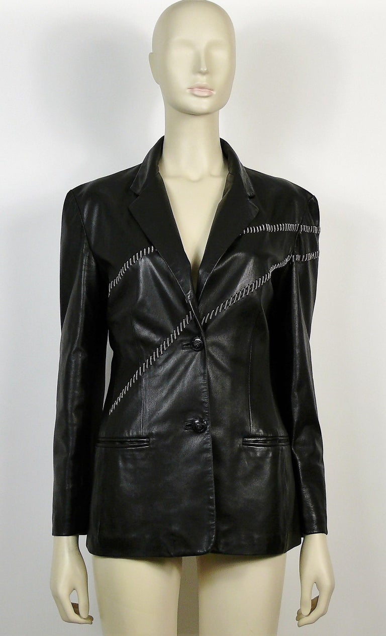 69f734a71 Gianni Versace Vintage Leather Blazer with Chains
