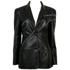 Gianni Versace Vintage Leather Blazer with Chains