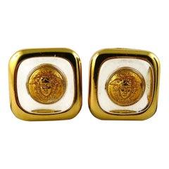 Gianni Versace Vintage Lucite Medusa Clip-On Earrings
