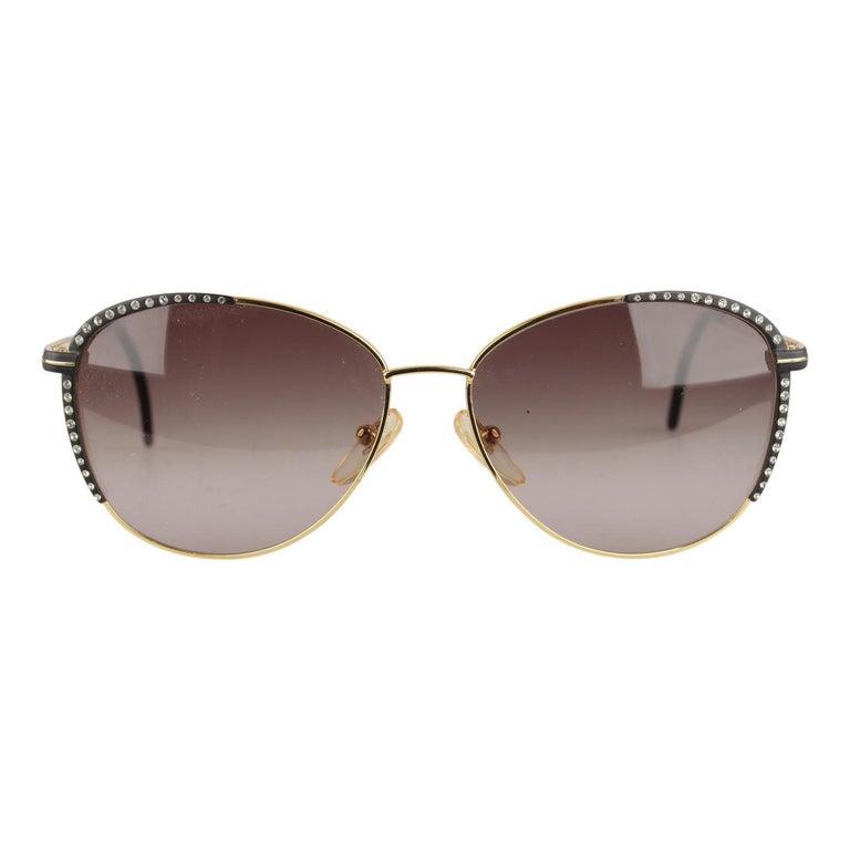 f9818632c7992 Gianni Versace Vintage Mint Sunglasses Rhinestones V13 135mm wide For Sale