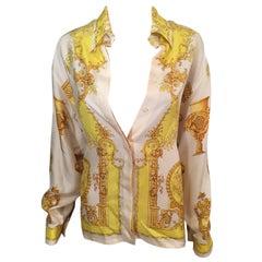 Gianni Versace Vintage Plunging Neckline Silk Shirt Top