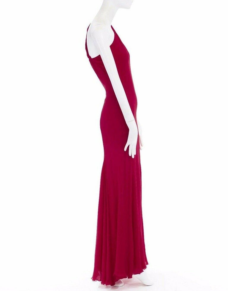 GIANNI VERSACE Vintage red crinkle silk twist strap open back gown dress IT40 S For Sale 1