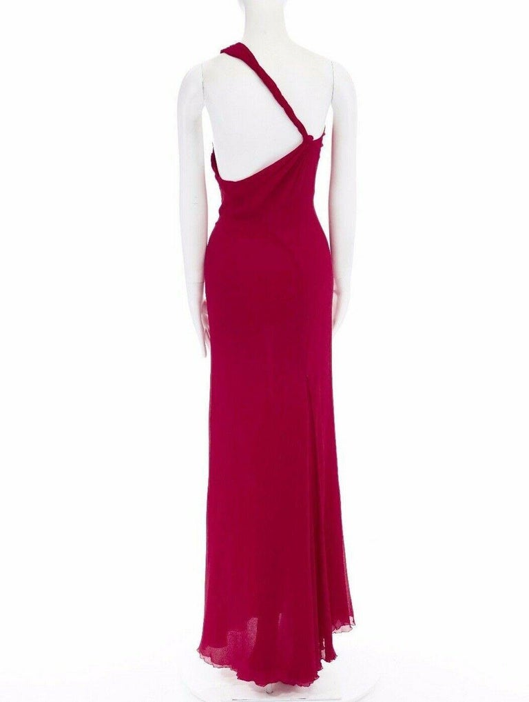 GIANNI VERSACE Vintage red crinkle silk twist strap open back gown dress IT40 S For Sale 2