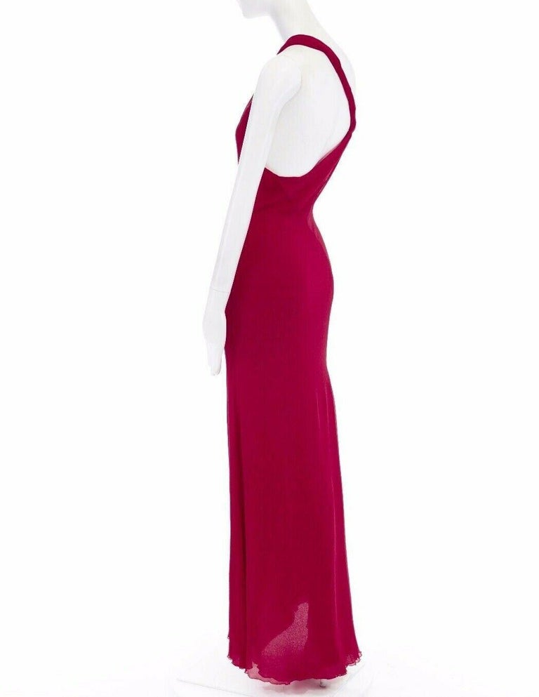 GIANNI VERSACE Vintage red crinkle silk twist strap open back gown dress IT40 S For Sale 3