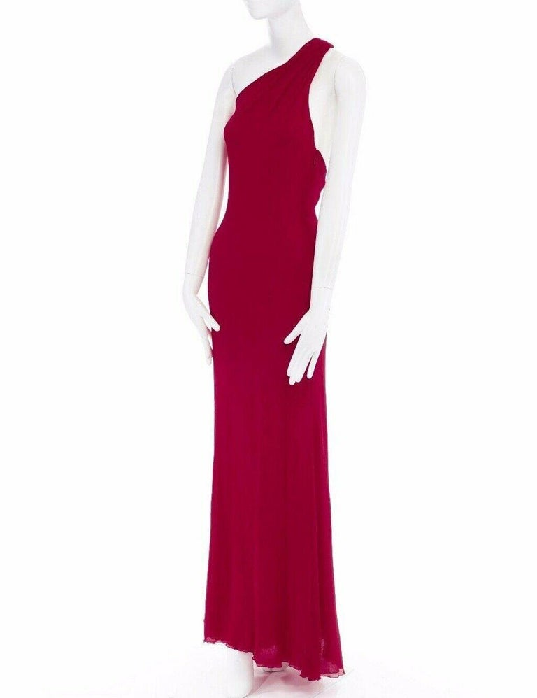GIANNI VERSACE Vintage red crinkle silk twist strap open back gown dress IT40 S For Sale 4