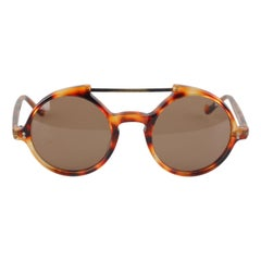 Gianni Versace Vintage Round Steampunk Sunglasses 45mm New Old Stock