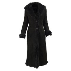 Gianni Versace Vintage Shearling Sheepskin Long Black Coat, 1990s