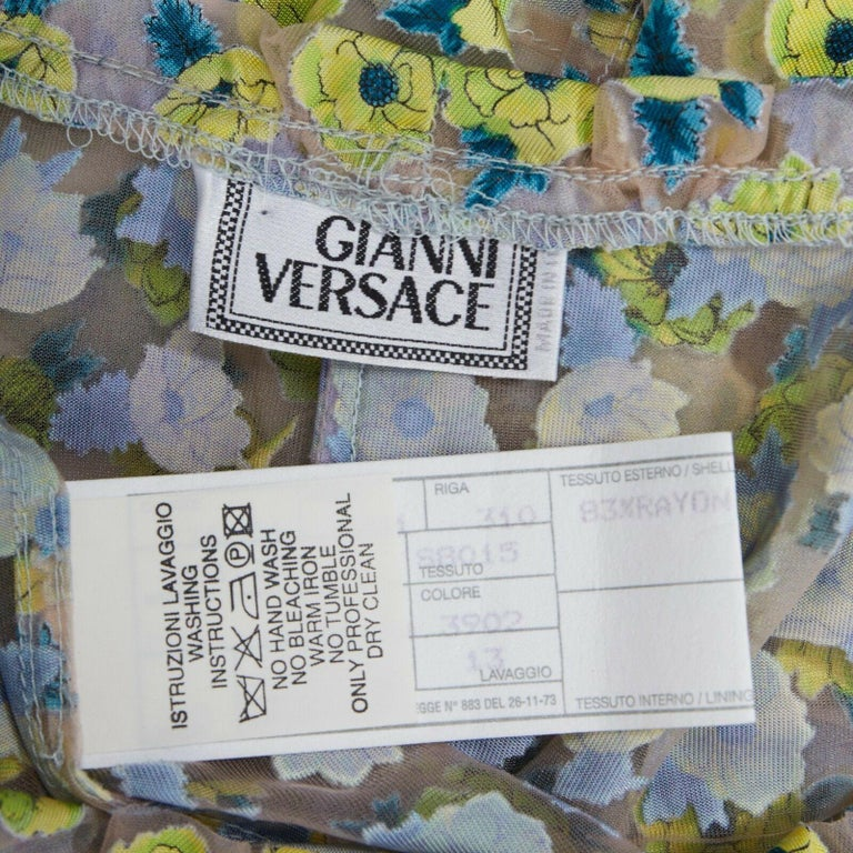 GIANNI VERSACE Vintage SS96 green floral sheer devore cropped sleeve top IT40 S For Sale 6