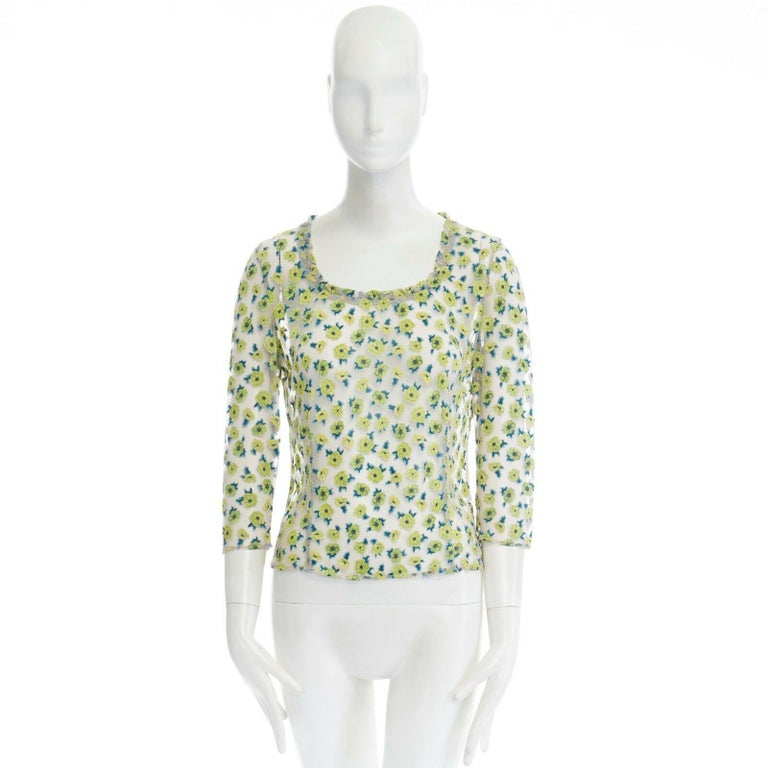 GIANNI VERSACE Vintage SS96 green floral sheer devore cropped sleeve top IT40 S In Excellent Condition For Sale In Hong Kong, NT
