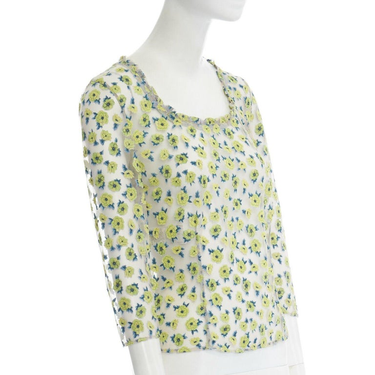 Women's GIANNI VERSACE Vintage SS96 green floral sheer devore cropped sleeve top IT40 S For Sale