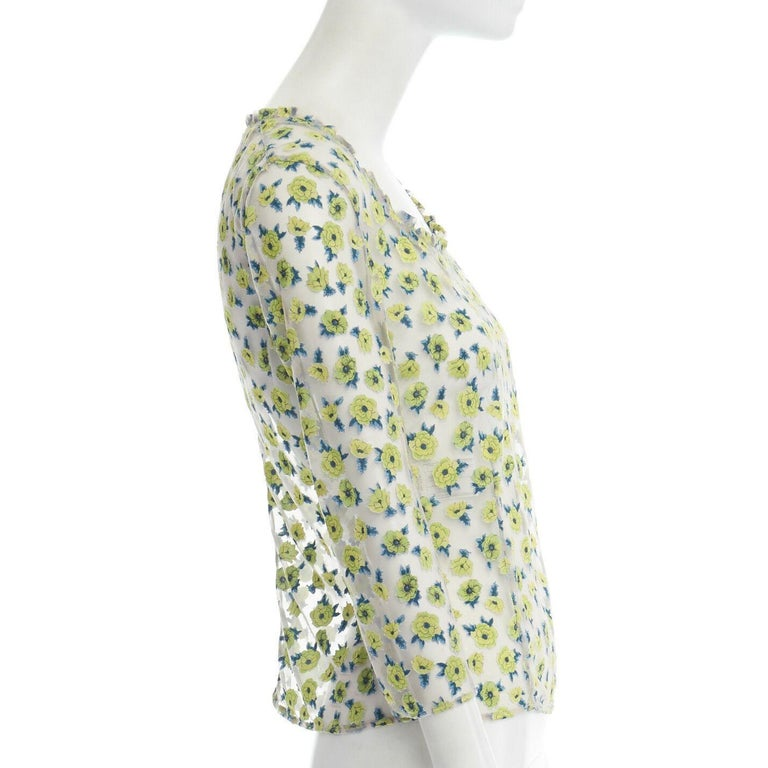 GIANNI VERSACE Vintage SS96 green floral sheer devore cropped sleeve top IT40 S For Sale 1