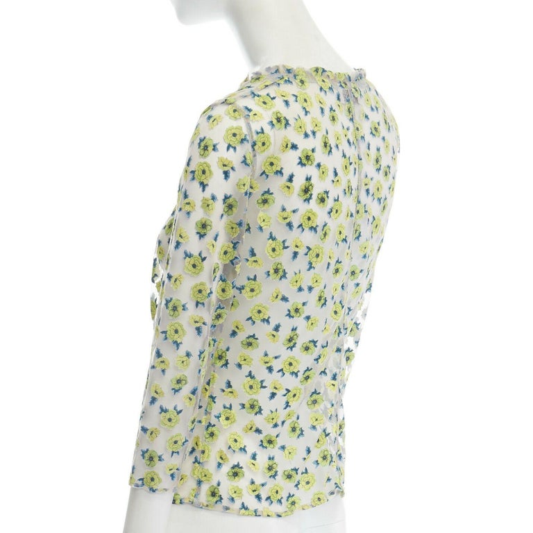 GIANNI VERSACE Vintage SS96 green floral sheer devore cropped sleeve top IT40 S For Sale 2
