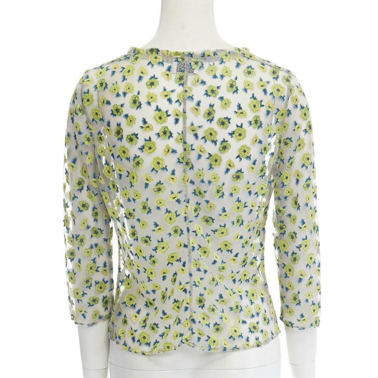 GIANNI VERSACE Vintage SS96 green floral sheer devore cropped sleeve top IT40 S For Sale 3