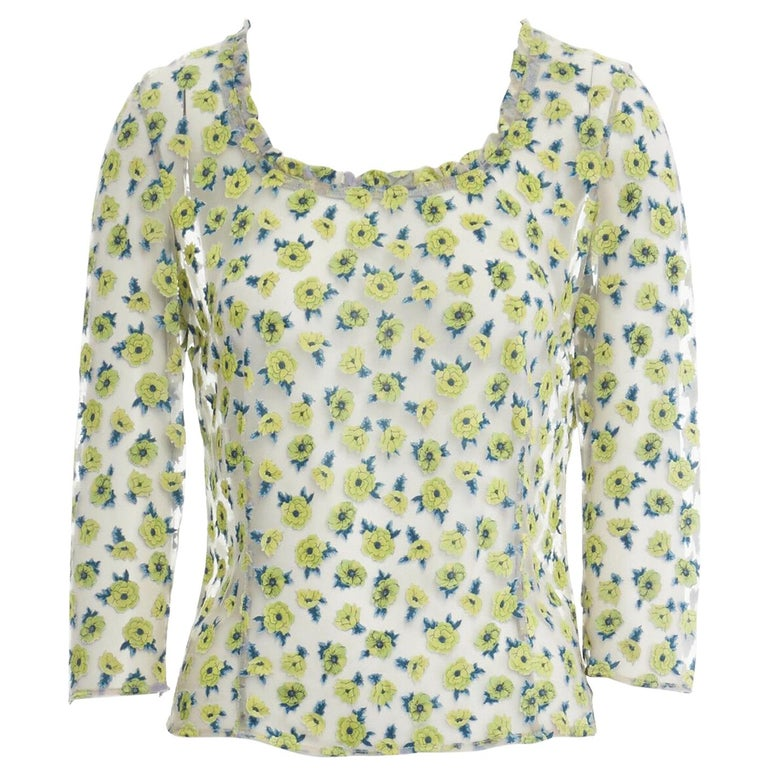 GIANNI VERSACE Vintage SS96 green floral sheer devore cropped sleeve top IT40 S For Sale