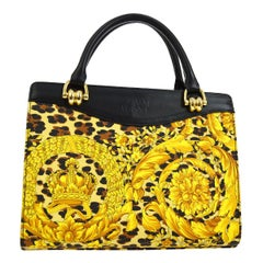Gianni Versace Vintage Yellow Gold Black Fabric Evening Top Handle Satchel Bag