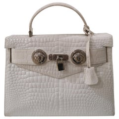 Gianni Versace white leather cocco handle shoulder bag